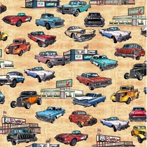 Picture of Motorin' Vintage Cars Rt 66 Roadside Diner Retro Beige Cotton Fabric