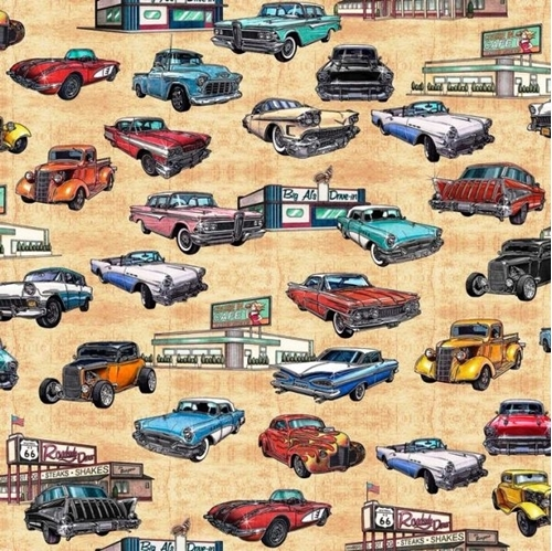 Motorin' Vintage Cars Rt 66 Roadside Diner Retro Beige Cotton Fabric