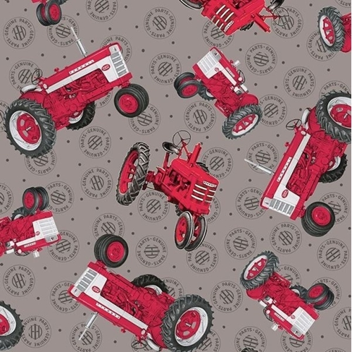 Farmall Show Tossed Tractors Int Harvester Gray Cotton Fabric