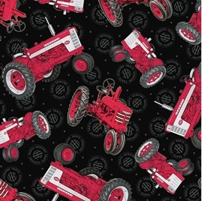 Farmall Show Tossed Tractors Int Harvester Black Cotton Fabric