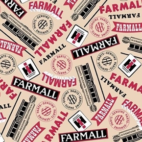 Farmall Show Farmall Words International Harvester Cream Cotton Fabric