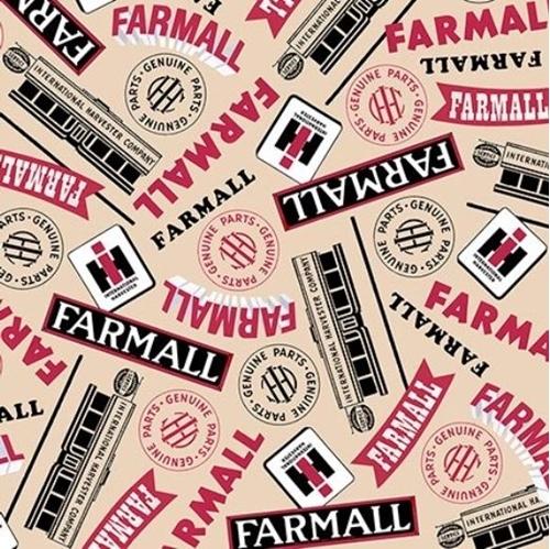 Picture of Farmall Show Farmall Words International Harvester Cream Cotton Fabric