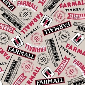 Farmall Show Farmall Words Int Harvester Lt Gray Cotton Fabric