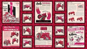 Farmall Show Vintage IH Tractor Ads 24x44 Cotton Fabric Panel