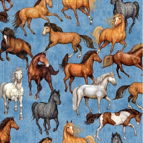 Mustang Sunset Horses Mustangs Horse Blue Cotton Fabric