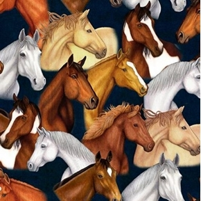 Mustang Sunset Packed Horses Horse Heads Navy Blue Cotton Fabric