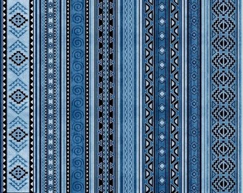 Mustang Sunset Southwest Aztec Blue Stripe Cotton Fabric