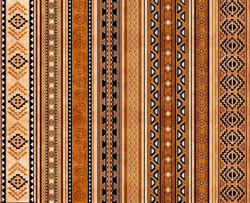 Mustang Sunset Southwest Aztec Brown Stripe Cotton Fabric