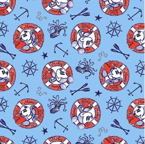 Disney Mickey and Minnie Nautical Sailing Since 1928 Cotton Fabric