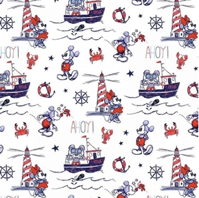 Disney Mickey and Minnie Nautical Ahoy Mickey White Cotton Fabric