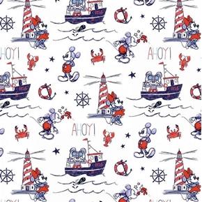 Disney Mickey and Minnie Nautical Ahoy Mickey White Cotton Fabric