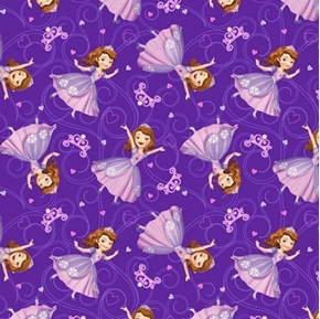 Disney Princess Sofia Allover Dancing on Purple Cotton Fabric