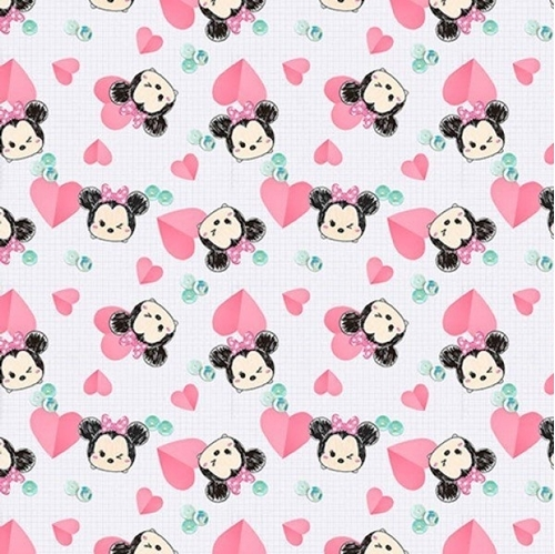 Disney Tsum Tsum Minnie Mouse Hearts and Gems Cotton Fabric