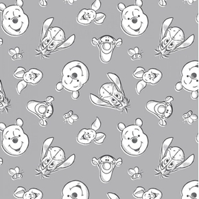 Disney Baby Pooh Nursery Always by Your Side Grey Cotton Fabric