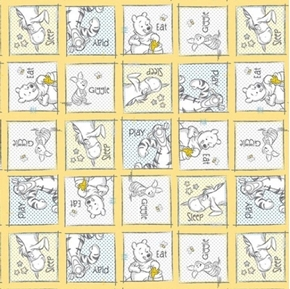 Picture of Disney Baby Pooh Nursery Eat Play Giggle Sleep Squares Cotton Fabric