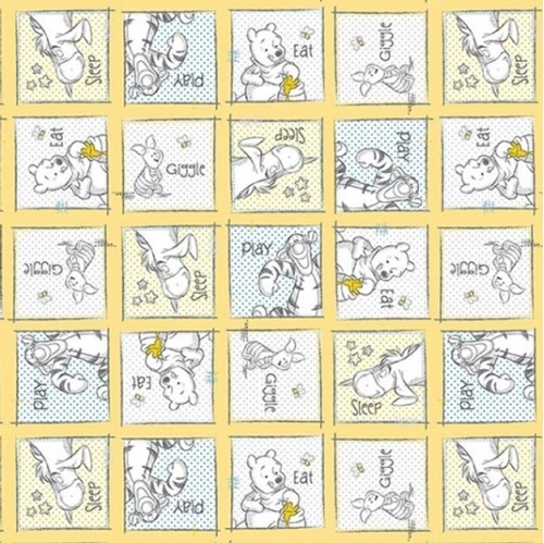 Disney Baby Pooh Nursery Eat Play Giggle Sleep Squares Cotton Fabric