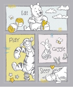 Disney Pooh Nursery Eat Play Giggle Sleep Large Cotton Fabric Panel