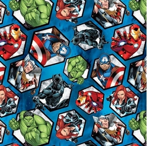 Marvel Avengers Assemble Hulk Black Widow Ironman Cameo Cotton Fabric