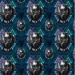 Marvel Avengers Black Panther Head Toss Superhero Cotton Fabric