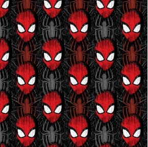Marvel Spiderman Spider-Man Head Toss with Spiders Black Cotton Fabric