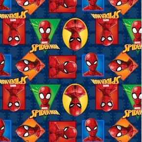 Marvel Spiderman Spider-Man Badge Colorful Cameos Cotton Fabric