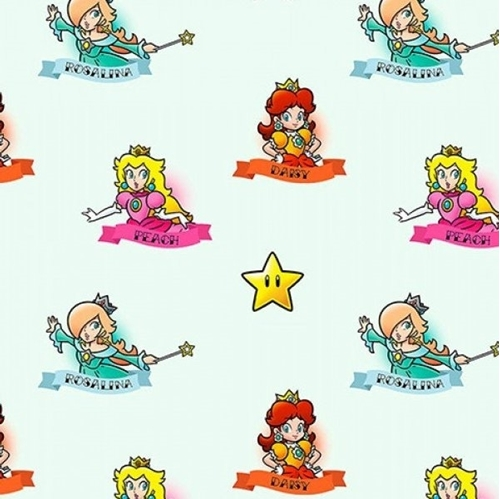Nintendo Mario Princesses Daisy Peach Rosalina Lt Green Cotton Fabric