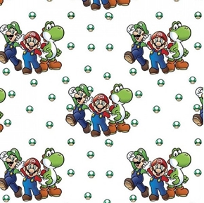 Nintendo Beware of Bowser Video Game Mario Brothers Cotton Fabric