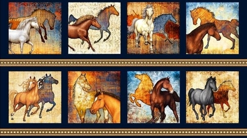 Mustang Sunset Decorated Horses Horse Block 24x44 Cotton Fabric Panel