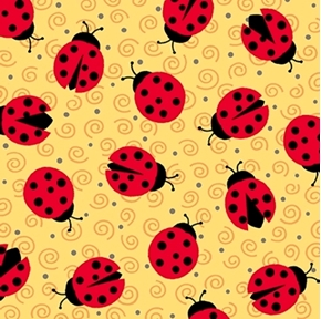 ESME Lady Bugs on Yellow Junebee Ink and Arrow Cotton Fabric