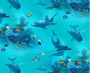 Paradise Found Dolphins Sting Rays Fish Underwater Cotton Fabric