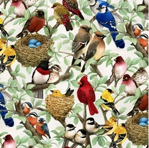 Beautiful Birds Housing Boom Songbirds Song Bird Cream Cotton Fabric