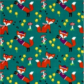 Lil Foxy Foxes Mushrooms and Flowers Fox Teal Cotton Fabric