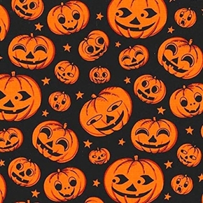 Pumpkin Heads Smiling Jack-O-Lanterns Black Cotton Fabric