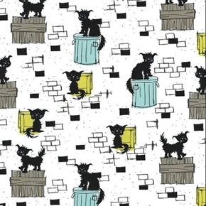 Oona Stray Cats on Trash Cans and Fences Scruffy Cat Cotton Fabric