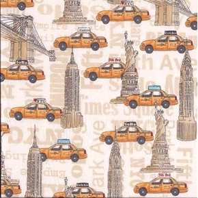 NYC Buildings Empire State Brooklyn Bridge New York Taxi Cotton Fabric