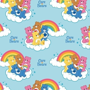 Care Bears Rainbow Characters on Clouds Rainbow Blue Cotton Fabric