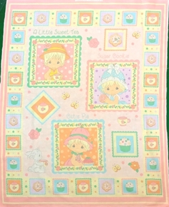 Precious Moments Cutie Pie Sugar Sweets Large Cotton Fabric Panel