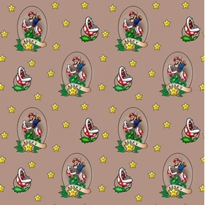 Nintendo Lucky Mario Video Game Piranha Plant Brown Cotton Fabric