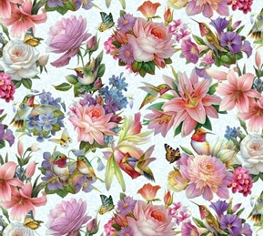 Hummingbird Bouquet Hummingbirds and Flowers Sky Blue Cotton Fabric
