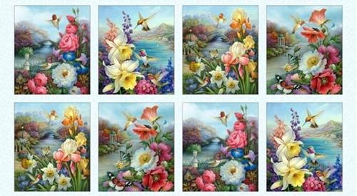 Hummingbird Bouquet Hummingbirds Flowers 24x44 Cotton Fabric Panel