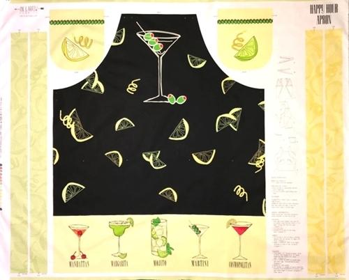 Happy Hour Cocktails Martini Mojito Apron Cotton Fabric Craft Panel