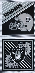 Picture of NFL Football Los Angeles Raiders 17x36 Cotton Fabric Pillow Panel Set