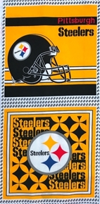 Picture of NFL Football Pittsburgh Steelers 17x36 Cotton Fabric Pillow Panel Set