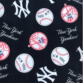 Picture of MLB Baseball New York Yankees Navy 2000 Pattern 18X29 Cotton Fabric