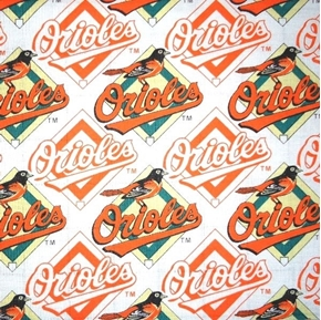 Picture of MLB Baseball Baltimore Orioles OOP 2000 Pattern 18X29 Cotton Fabric