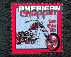 American Chopper Motorcycle Black Widow OOP Cotton Fabric Pillow Panel