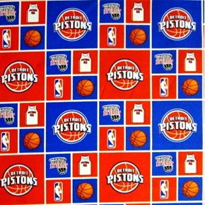 NBA Basketball Detroit Pistons Red White and Blue Cotton Fabric