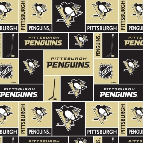 Picture of NHL Hockey Pittsburgh Penguins Black and Gold Squares Cotton Fabric