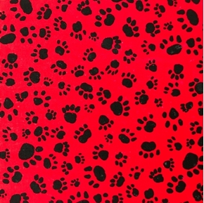 Dog Paw Prints Animal Paws Black on Red OOP Cotton Fabric