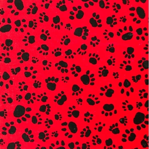 Picture of Dog Paw Prints Animal Paws Black on Red OOP Cotton Fabric
